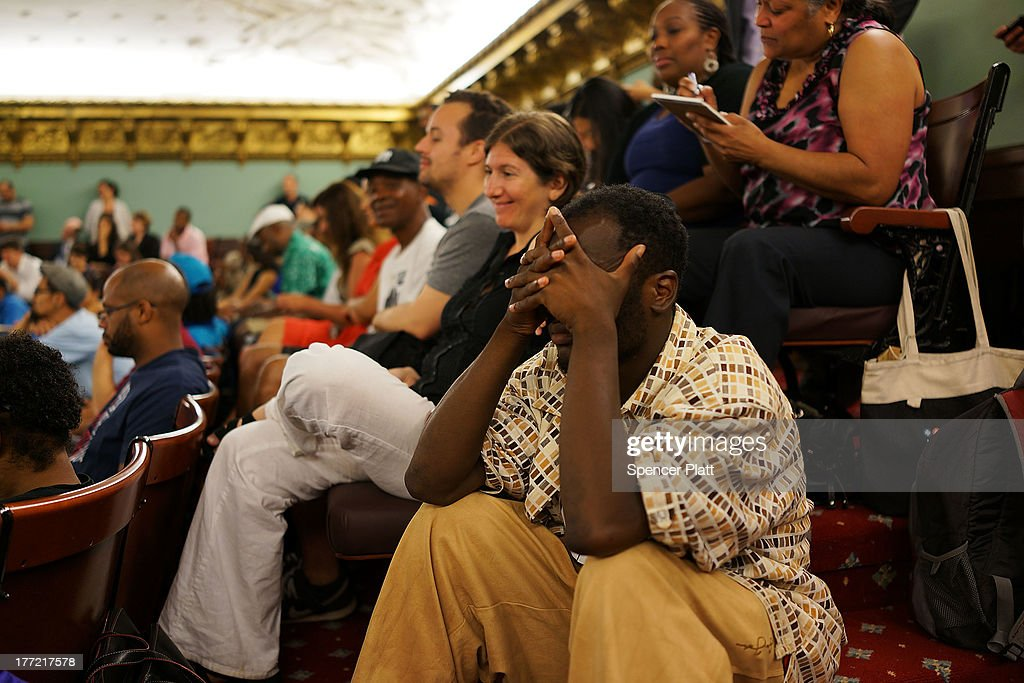 Shapriece Townsend, a vritic of the New York City Police Department (NYPD) stop-and-frisk policy, watches deliberations moments before City Council members voted to override Mayor Michael BloombergÕs vetoes to establish an inspector general for the New York Police Department (NYPD) weeks after a federal judge ruled that the NYPD violated the civil rights of minorities with their stop-and-frisk policy on August 22, 2013 in New York City. U.S. District Court Judge Shira Scheindlin ordered a monitor to focus on stop-and-frisk, a policy she declared that the department has used in a manner that violated the rights of hundreds of thousands of black and Hispanic men. The city is appealing the ruling.