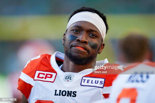 Shaq Johnson of the BC Lions on the sideline during the game between the BC Lions and the Saskatchewan Roughriders at Mosaic Stadium on August 13...