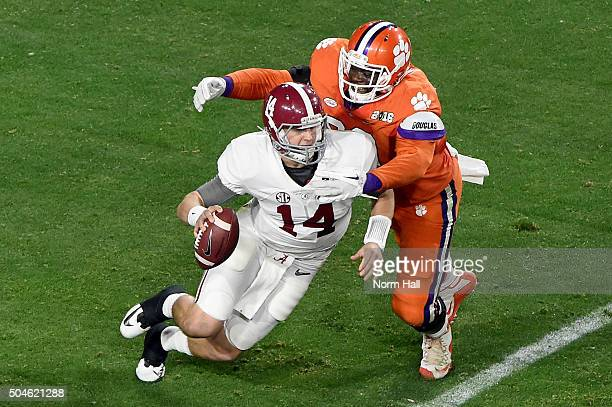 Shaq Lawson of the Clemson Tigers sacks Jake Coker of the Alabama Crimson Tide in the second quarter during the 2016 College Football Playoff...