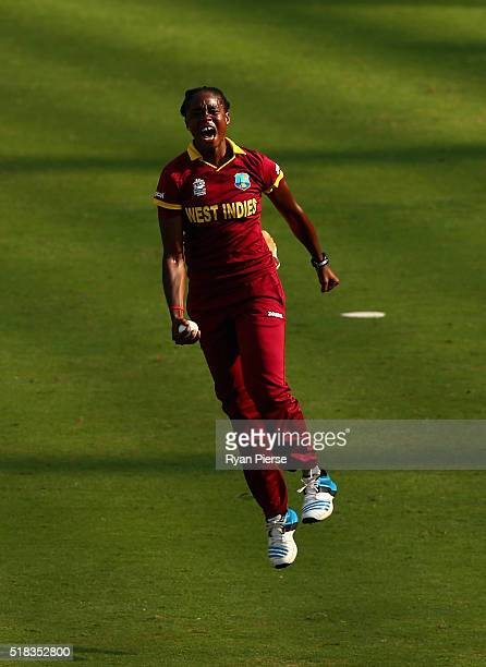 Shaquana Quintyne of the West Indies celebrates after taking a catch to dismiss Suzie Bates Captain of New Zealand during the Women's ICC World...