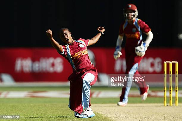 Shaquana Quintyne of West Indies appeals successfully for the wicket of Alex Blackwell of Australia during game three of the International Women's...