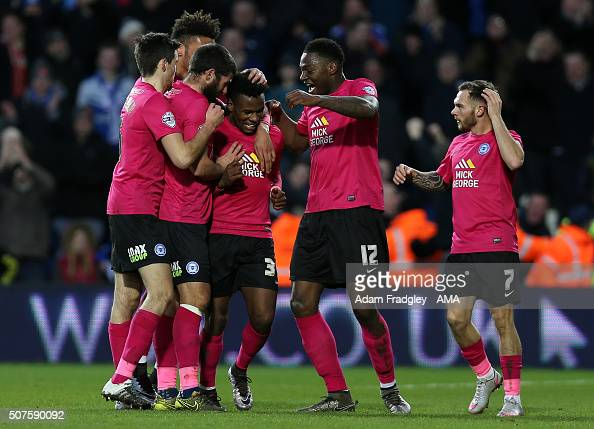 Shaquile Coulthirst of Peterborough United celebrates after scoring a goal to make it 11 during the Emirates FA Cup match between West Bromwich...