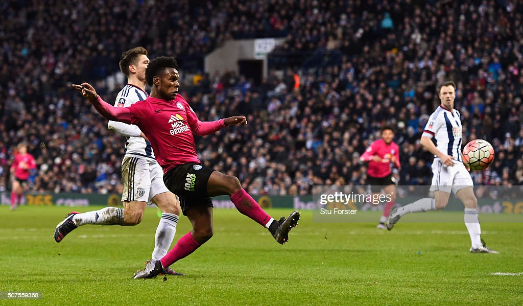 Shaquile Coulthirst of Peterborough United scores his team's first goal during the Emirates FA Cup Fourth Round match between West Bromwich Albion and Peterborough United at The Hawthorns on January 30, 2016 in West Bromwich, England.