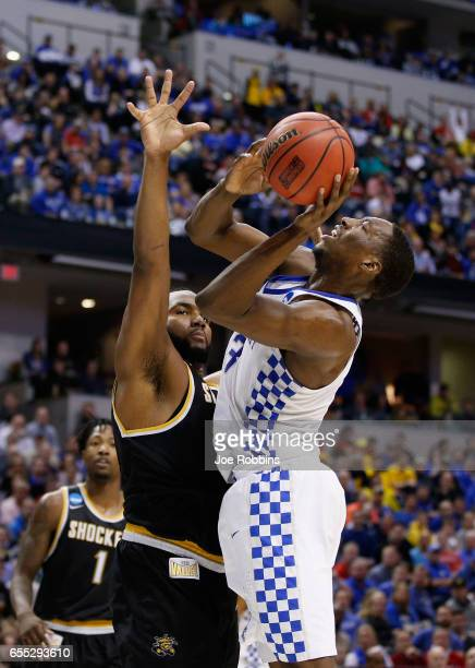 Shaquille Morris of the Wichita State Shockers defends Edrice Adebayo of the Kentucky Wildcats in the first half during the second round of the 2017...