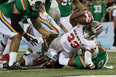 Shaquille MurrayLawrence of the UNLV Rebels reaches for a touchdown against the Hawaii Warriors during the first quarter of a college football game...