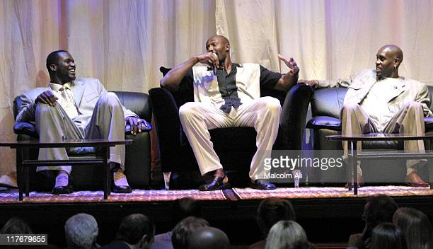 Shaquille O' Neal Karl Malone and Gary Payton during Shaquille O'Neal Hosts PreSeason Party to Benefit the Lakers Youth Foundation at The New Avalon...