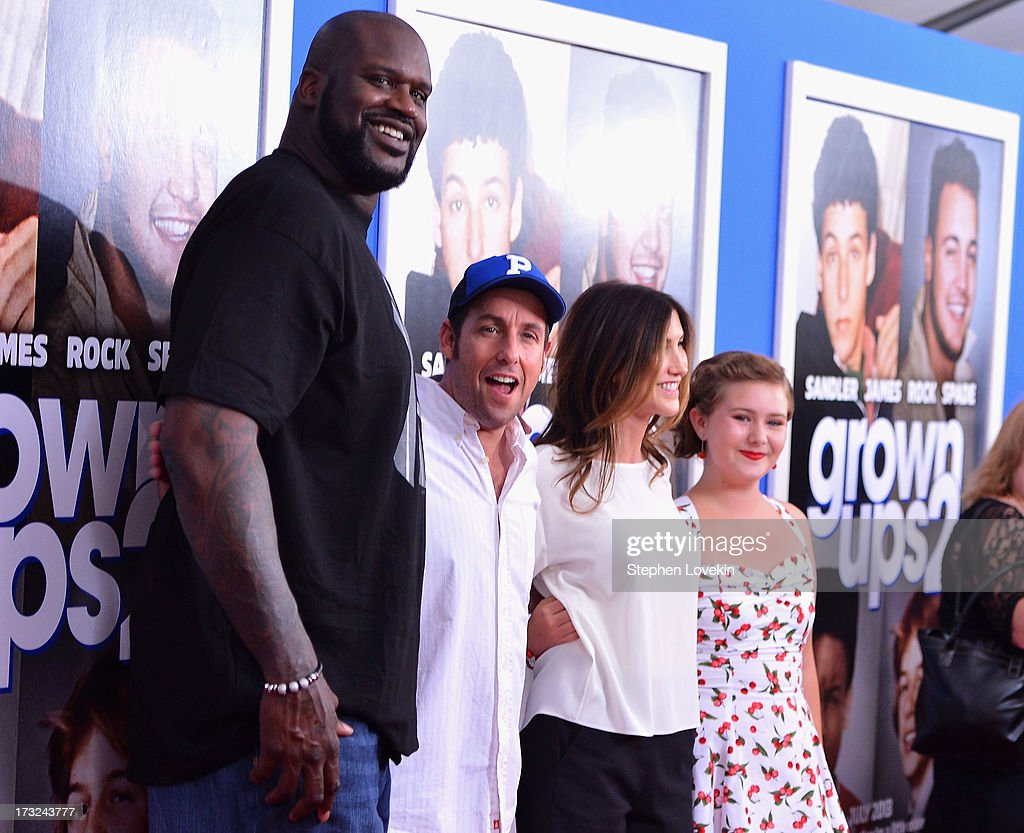 <a gi-track='captionPersonalityLinkClicked' href=/galleries/search?phrase=Shaquille+O%27Neal&family=editorial&specificpeople=201463 ng-click='$event.stopPropagation()'>Shaquille O'Neal</a>, <a gi-track='captionPersonalityLinkClicked' href=/galleries/search?phrase=Adam+Sandler&family=editorial&specificpeople=202205 ng-click='$event.stopPropagation()'>Adam Sandler</a>, <a gi-track='captionPersonalityLinkClicked' href=/galleries/search?phrase=Jackie+Sandler&family=editorial&specificpeople=4402496 ng-click='$event.stopPropagation()'>Jackie Sandler</a>, and Ada-Nicole Sanger attend the 'Grown Ups 2' New York Premiere at AMC Lincoln Square Theater on July 10, 2013 in New York City.