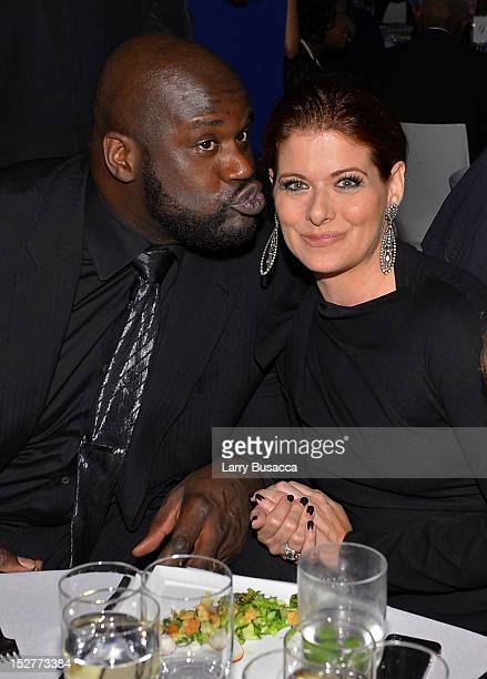 Shaquille O'Neal and Debra Messing attend the United Nations Every Woman Every Child Dinner 2012 on September 25 2012 in New York United States