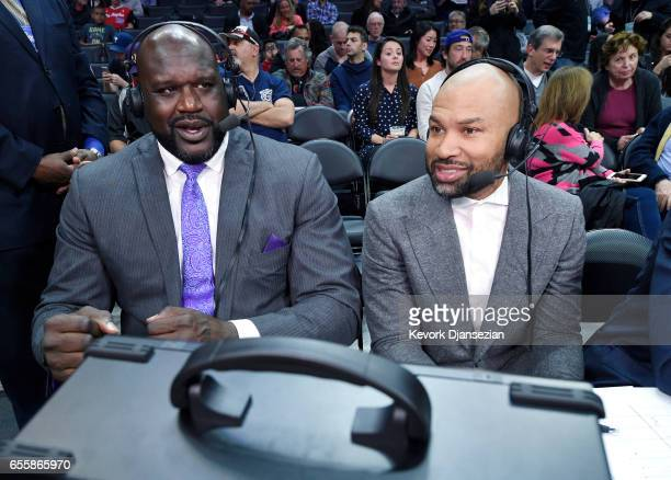 Shaquille O'Neal and Derek Fisher commentators for TNT prepare to announce the basketball game between the Los Angeles Clippers and New York Knicks...