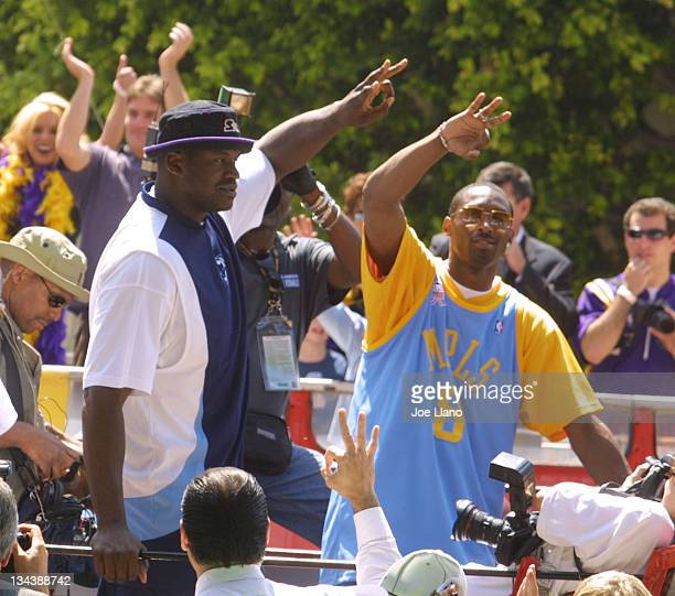 Shaquille O'Neal and Kobe Bryant during Los Angeles Lakers Championship Parade and Celebration at Staples Center in Los Angeles California United...