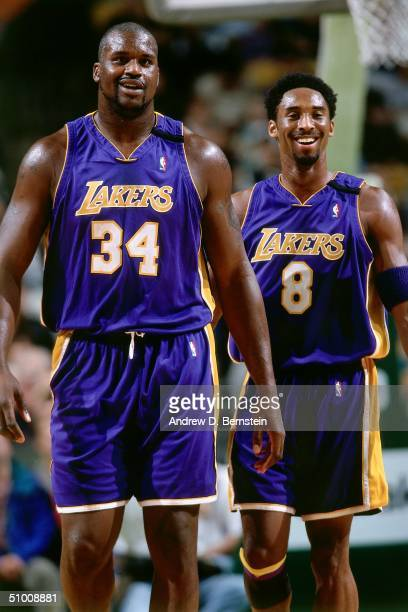 Shaquille O'Neal and Kobe Bryant of the Los Angeles walk upcourt circa 2000 NOTE TO USER User expressly acknowledges and agrees that by downloading...
