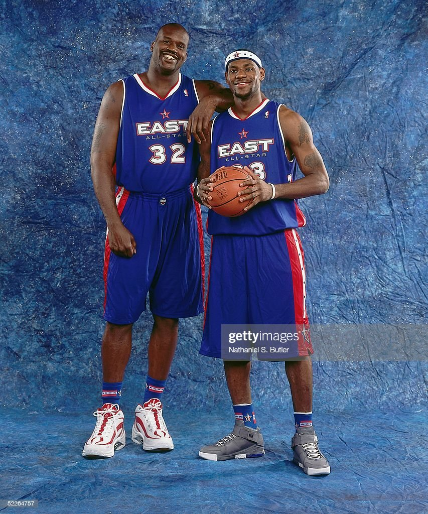 Shaquille O'Neal #32 and LeBron James #23 of the Eastern Conference All-Stars pose for a portrait prior to the 2005 NBA All-Star Game at The Pepsi Center on February 20, 2005 in Denver, Colorado.