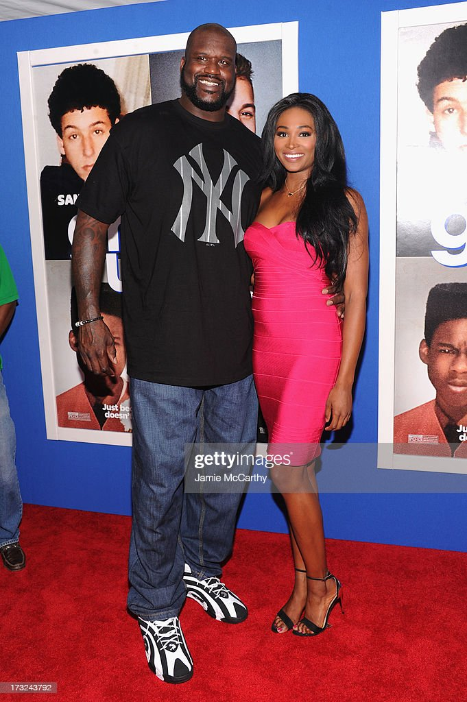 Shaquille O'Neal (L) and Nana Meriwether attend the 'Grown Ups 2' New York Premiere at AMC Lincoln Square Theater on July 10, 2013 in New York City.