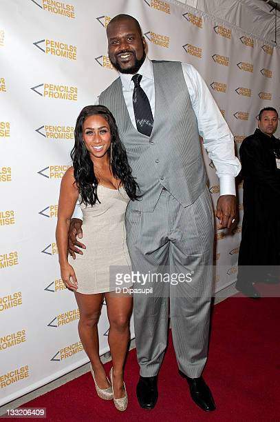 Shaquille O'Neal and Nicole Alexander attend the Pencils of Promise 2011 charity gala at Espace on November 17 2011 in New York City
