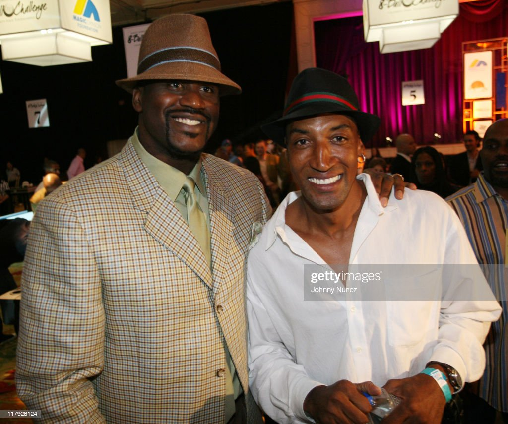 Shaquille O'Neal and Scottie Pippen during Boost Mobile's Zo and Magic Johnson 8Ball Challenge Celebrity Pool Tournament at Wynn Las Vegas in Las...