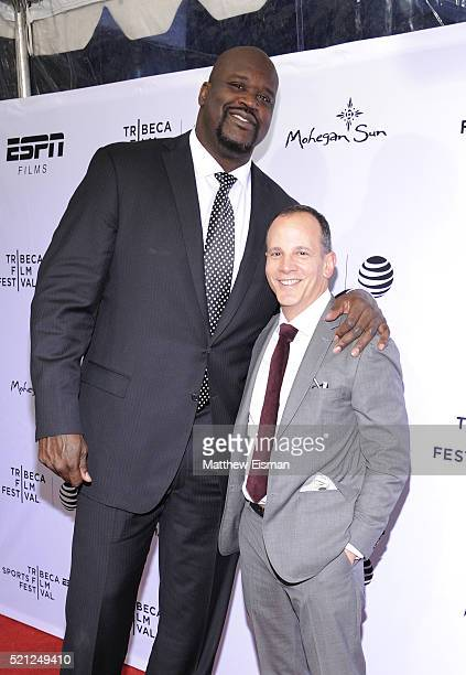 Shaquille O'Neal and Tribeca Enterprises CEO Andrew Essex attends '30 For 30 This Magic Moment' Premiere 2016 Tribeca Film Festival at SVA Theatre on...