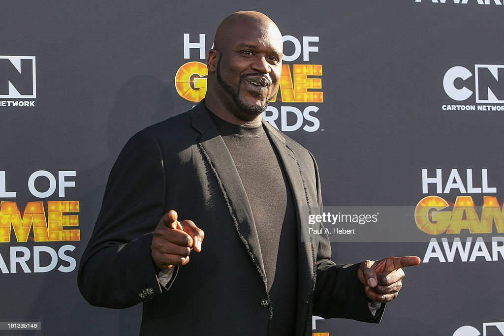 <a gi-track='captionPersonalityLinkClicked' href=/galleries/search?phrase=Shaquille+O%27Neal&family=editorial&specificpeople=201463 ng-click='$event.stopPropagation()'>Shaquille O'Neal</a> arrives at the 3rd Annual Cartoon Network's 'Hall Of Game' Awards held at Barker Hangar on February 9, 2013 in Santa Monica, California.