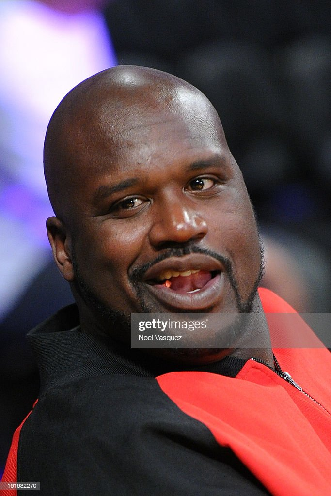 Shaquille O'Neal attends a basketball game between the Phoenix Suns and the Los Angeles Lakers at Staples Center on February 12, 2013 in Los Angeles, California.