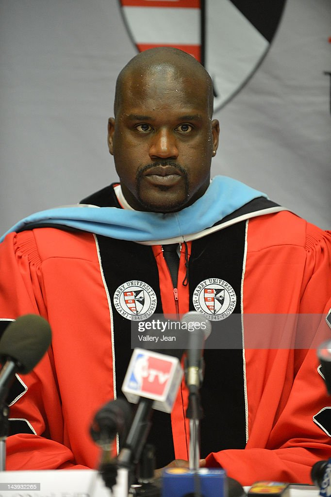 Shaquille O'Neal attends press conference after receives a doctoral degree in education from Barry University at James L Knight Center on May 5, 2012 in Miami, Florida.