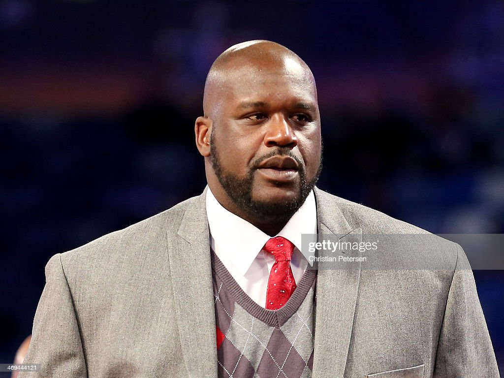 <a gi-track='captionPersonalityLinkClicked' href=/galleries/search?phrase=Shaquille+O%27Neal&family=editorial&specificpeople=201463 ng-click='$event.stopPropagation()'>Shaquille O'Neal</a> attends the BBVA Compass Rising Stars Challenge 2014 as part of the 2014 NBA Allstar Weekend at the Smoothie King Center on February 14, 2014 in New Orleans, Louisiana.
