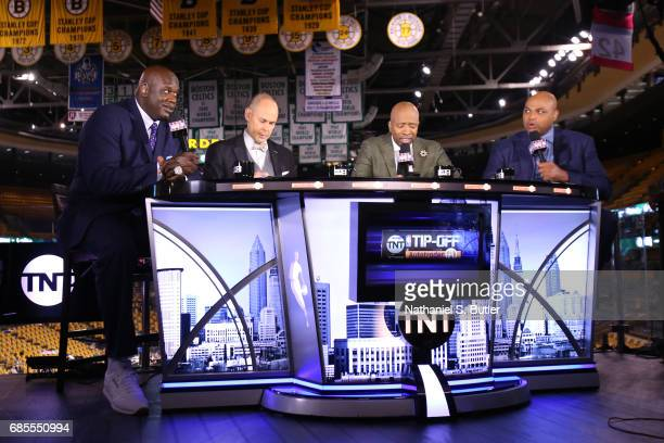 Shaquille O'Neal Charles Barkley Kenny Smith and Ernie Johnson are seen before the game between the Boston Celtics and the Cleveland Cavaliers in...
