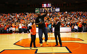 Shaquille O'Neal during half time at the Syracuse Orange vs Fordham University Rams game shown with Syracuse University athletics director Daryl...