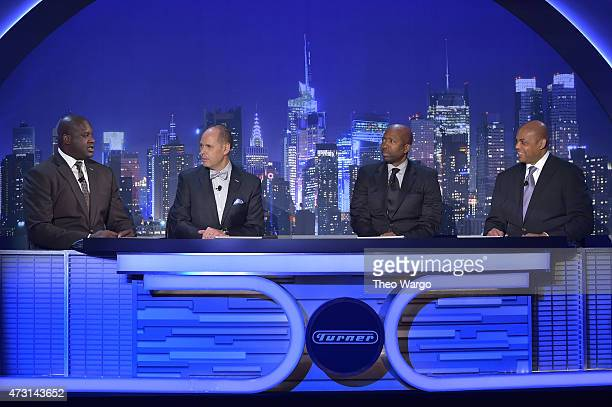 Shaquille O'Neal Ernie Johnson Kenny Smith and Charles Barkley appear on stage during the Turner Upfront 2015 at Madison Square Garden on May 13 2015...