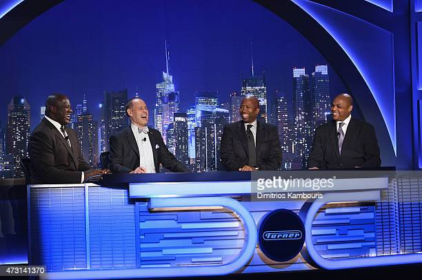 Shaquille O'Neal Ernie Johnson Kenny Smith and Charles Barkley speak on stage at the Turner Upfront 2015 at Madison Square Garden on May 13 2015 in...