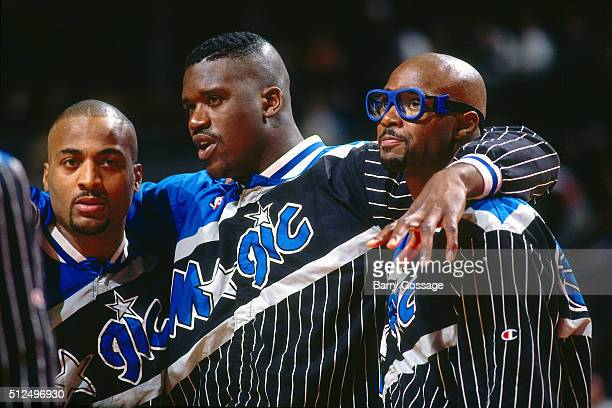 Shaquille O'Neal Horace Grant and Dennis Scott of the Orlando Magic huddle against the Chicago Bulls during Game Six of the Eastern Conference...
