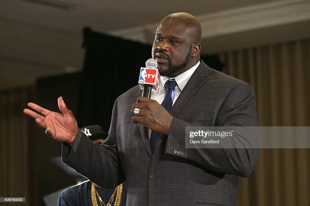 <a gi-track='captionPersonalityLinkClicked' href=/galleries/search?phrase=Shaquille+O%27Neal&family=editorial&specificpeople=201463 ng-click='$event.stopPropagation()'>Shaquille O'Neal</a> is announced as one of the finalist for the the Naismith Memorial Basketball Hall of Fame class of 2016 during the 2016 NBA All-Star Weekend at the Sheraton Centre Toronto Hotel on February 12, 2016 in Toronto, Ontario, Canada.