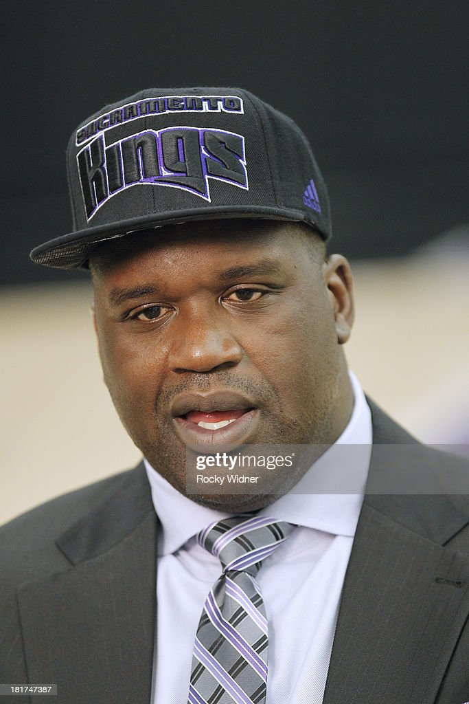 Shaquille O'Neal is introduced to the media as he joins the ownership group of the Sacramento Kings on September 24, 2013 at the Kings practice facility in Sacramento, California.