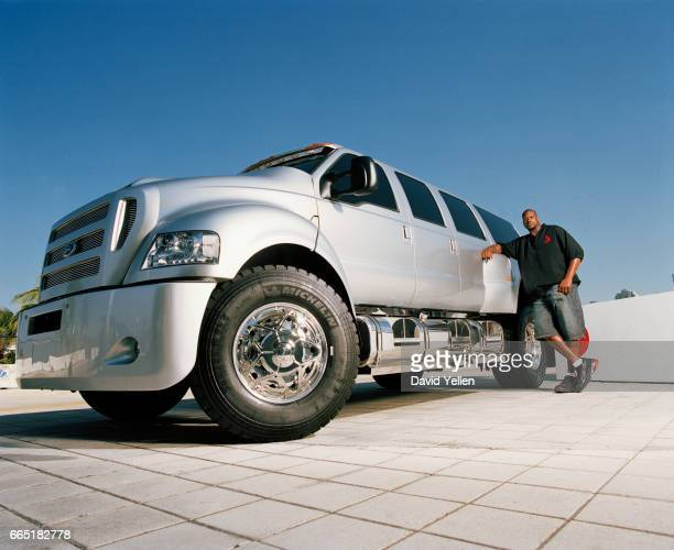 Shaq's stands with his modified 2006 F650 Extreme XUV