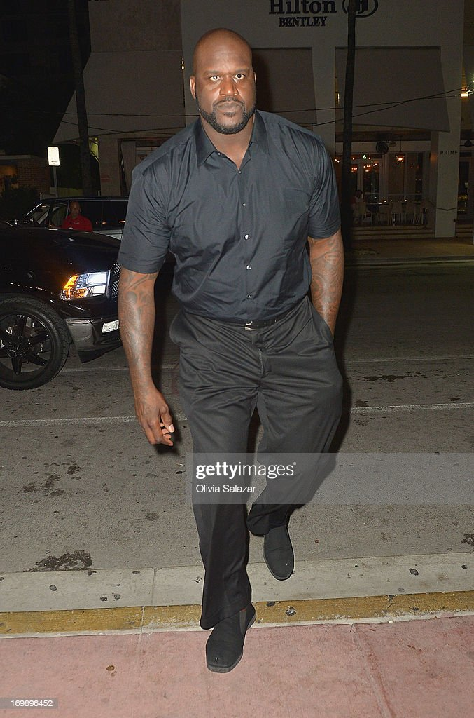 <a gi-track='captionPersonalityLinkClicked' href=/galleries/search?phrase=Shaquille+O%27Neal&family=editorial&specificpeople=201463 ng-click='$event.stopPropagation()'>Shaquille O'Neal</a> is sighted at Prime 112 Steakhouse on June 3, 2013 in Miami Beach, Florida.
