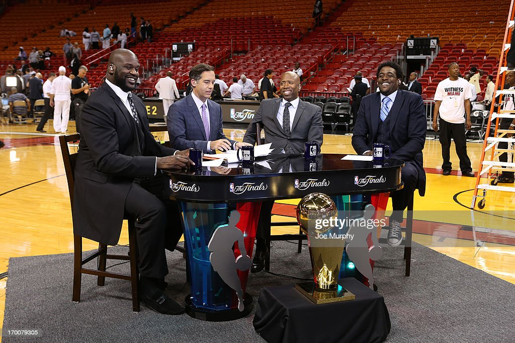 Shaquille O'Neal, Matt Winer, Kenny Smith and Chris Webber of NBATV discusses Game One of the 2013 NBA Finals on June 6, 2013 at American Airlines Arena in Miami, Florida.