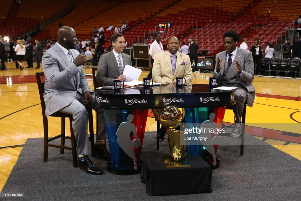 Shaquille O'Neal, Matt Winer, Kenny Smith and Chris Webber of NBATV discusses the game of the Miami Heat against the San Antonio Spurs after Game Two of the 2013 NBA Finals on June 9, 2013 at American Airlines Arena in Miami, Florida.