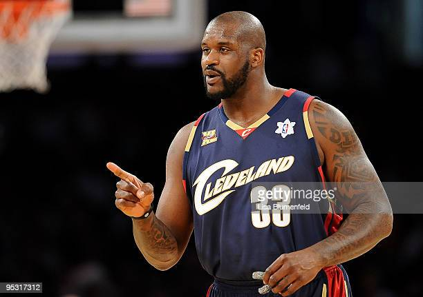 Shaquille O'Neal of the Cleveland Cavaliers reacts during the game against the Los Angeles Lakers at Staples Center on December 25 2009 in Los...