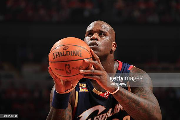 Shaquille O'Neal of the Cleveland Cavaliers shoots a free throw in Game Three of the Eastern Conference Quarterfinals against the Chicago Bulls...