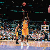 Shaquille O'Neal of the Los Angeles Lakers attempts a free throw against the Indiana Pacers during Game Two of the 2000 NBA Finals on June 9 2000 at...