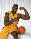 Shaquille O'Neal of the Los Angeles Lakers poses for a portrait during the Los Angeles Lakers Media Day on October 10 2003 in El Segundo California...