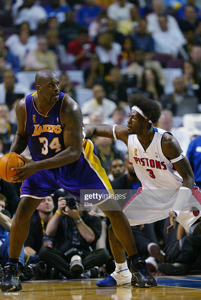 Shaquille O'Neal #34 of the Los Angeles Lakers posts up Ben Wallace #3 of the Detroit Pistons in Game three of the 2004 NBA Finals at the Palace of Auburn Hills on June 10, 2004 in Auburn Hills, Michigan. The Pistons won 88-68.