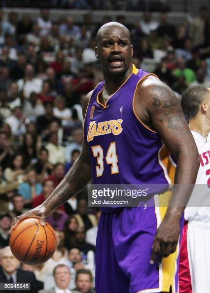 Shaquille O'Neal of the Los Angeles Lakers reacts after a foul during the second quarter of game three of the 2004 NBA Finals June 10 2004 against...