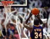 Shaquille O'Neal of the Los Angeles Lakers shoots a free throw during game two of their NBA Western Conference finals against the San Antonio Spurs...