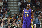 Shaquille O'Neal of the Los Angeles Lakers smiles during the game against the Milwaukee Bucks at Bradley Center on November 4 2003 in Milwaukee...