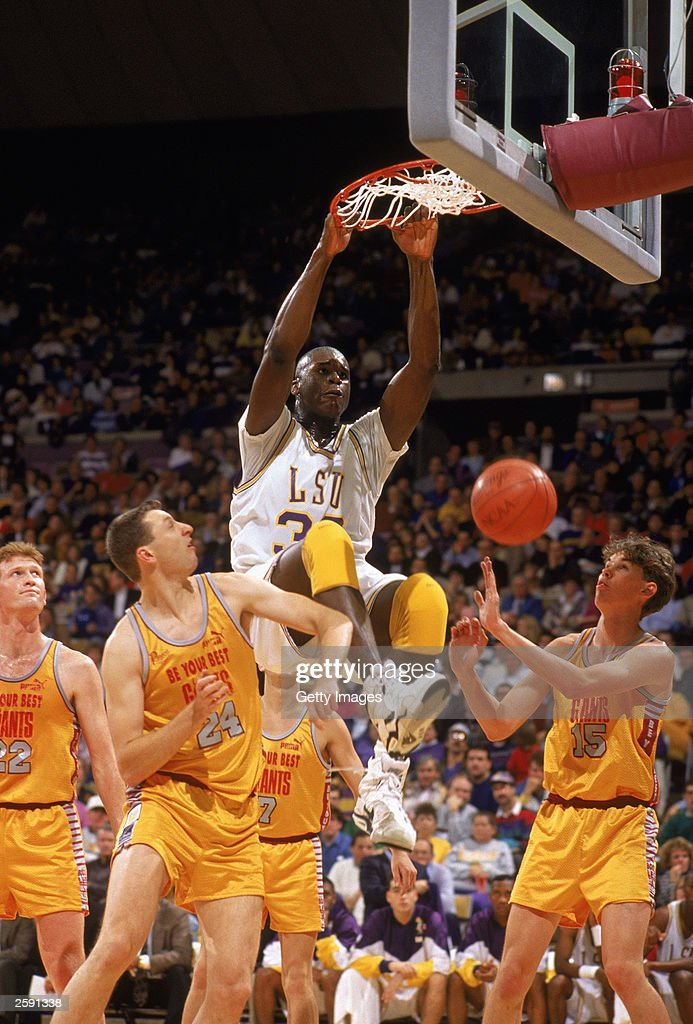 Shaquille O''Neal of the Lousiana State University Tigers makes a slam dunk during an NCAA game against the Tennessee Volnteers at Pete Maravich...