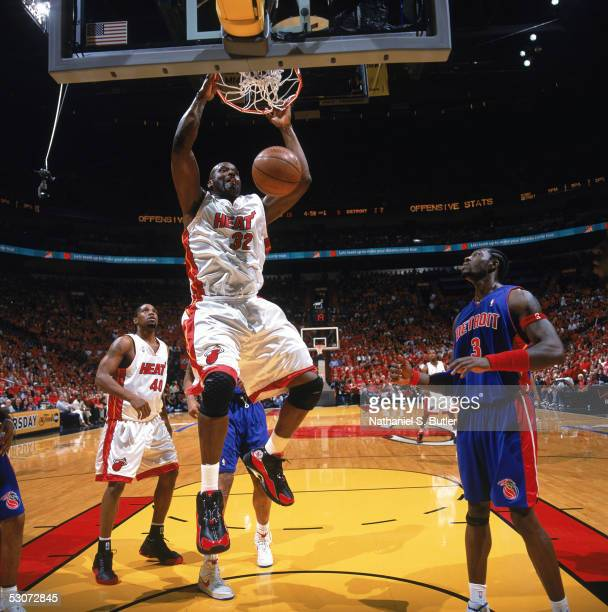 Shaquille O'Neal of the Miami Heat dunks against the Detroit Pistons in Game seven of the Eastern Conference Finals during the 2005 NBA Playoffs at...