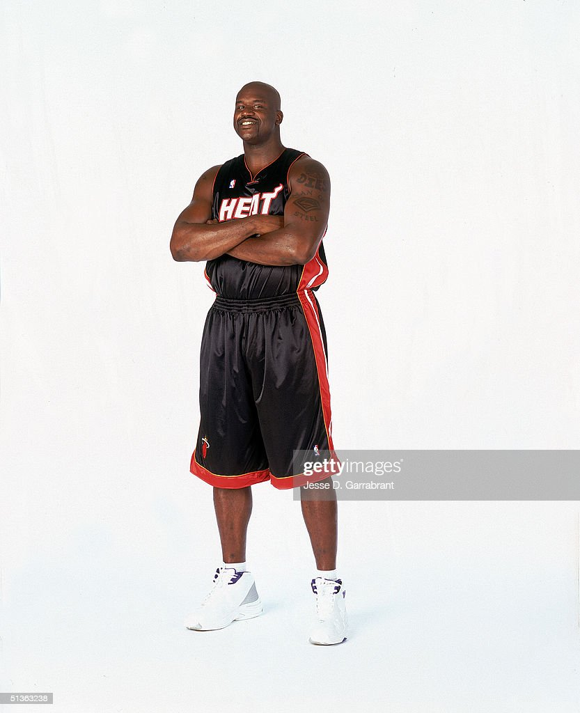 Shaquille O'Neal #32 of the Miami Heat poses for a photo during a portrait session on September 16, 2004 in Montclair, New Jersey.