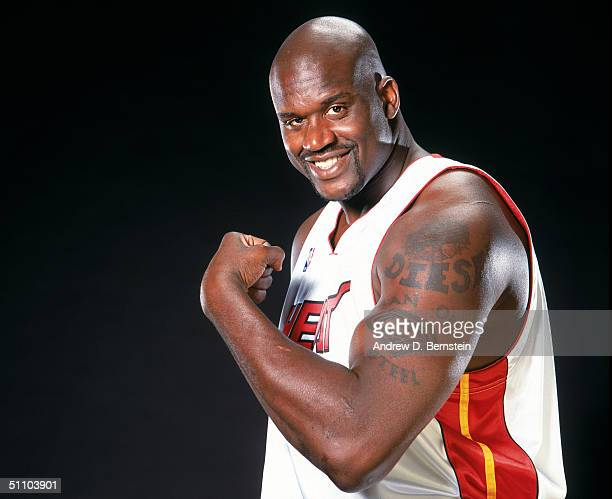 Shaquille O'Neal of the Miami Heat poses for a portrait during a press conference at American Airlines Arena on July 20 2004 in Miami Florida NOTE TO...