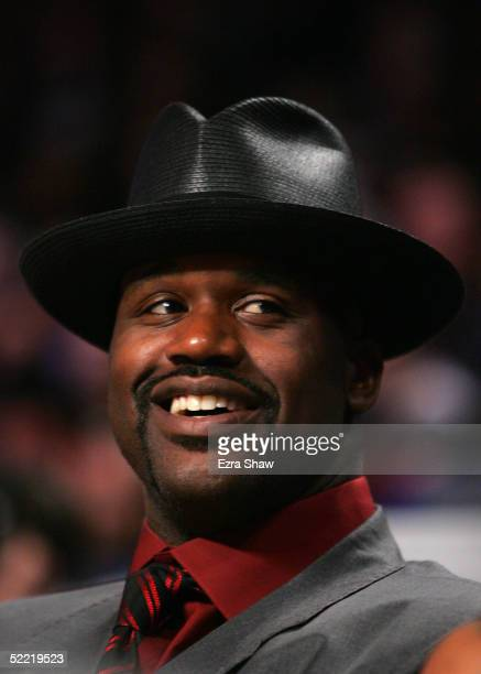 Shaquille O'Neal of the Miami Heat watches the Foot Locker ThreePoint Shootout part of 2005 NBA AllStar Weekend at Pepsi Center on February 19 2005...