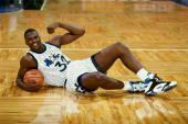 Shaquille O'Neal of the Orlando Magic poses for a portrait on the court at the TD Waterhouse Centre circa 1993 in Orlando Florida NOTE TO USER User...