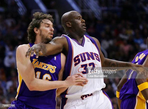 Shaquille O'Neal of the Phoenix Suns defends Pau Gasol of the Los Angeles Lakers at US Airways Center on February 20 2008 in Phoenix Arizona NOTE TO...